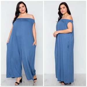 Pants - Solid Pocket Jumpsuit Cold Shoulder Jumpsuit 3X